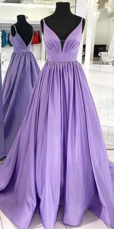 Purple Prom Dress,A-Line Prom Gown,Satin Prom Dress,V-Neck Prom Gown 0 – shinydress A Line Prom Dresses, Formal Evening Dresses, Homecoming Dresses, Long Dresses, Dress Formal, Pageant Dresses For Women, Simple Evening Gown, Dance Dresses, Midi Dresses