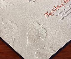 Letterpress leaves! Such a lovely autumn wedding invitation by http://invitationsbyajalon.com