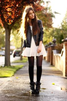 leather jacket, white chiffon dress with tights & thigh highs and booties