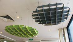 Bilderesultat for ceiling clouds Acoustic Baffles, Acoustic Wall Panels, Colored Ceiling, Ceiling Color, Ceiling Fan, Room Acoustics, Office Ceiling, Acoustic Design, Ceiling Hanging