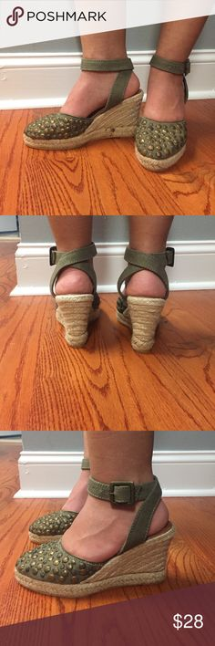 """Cute Wedges NWOT! Wedge ankle strap olive green. Very  comfy pair of shoes that can be dressed up or down. Heel height: 3 1/2"""" Apepazza Shoes Wedges"""
