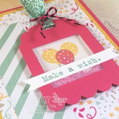 Retro Sketches Challenge using Stampin' Up! Party With Cake and Party Wishes Shaker Card. Debbie Henderson, Debbie's Designs.