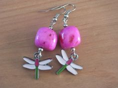 Earrings with lovely and color dragonfly. Natural stone bead. by PerfectLoveArts 8.00 €