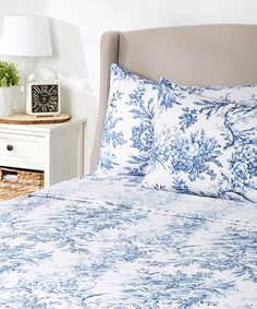 Loving this Dark Blue Toile Flannel Sheet Set on #zulily! #zulilyfinds I like this with a purple or dark blue duvet! Plus you can use the top sheet decoratively