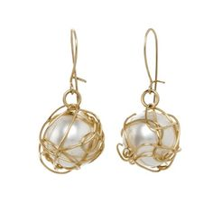 Wire Wrapped Pearl Bead Earrings