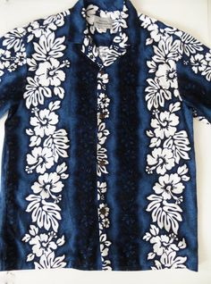 Vintage Cotton Hawaiian Shirt, Royal Creations, Made in Hawaii, Blue Tiki Hibiscus Print, Retro Aloha Shirt, Size Large by TomCatBazaar on Etsy