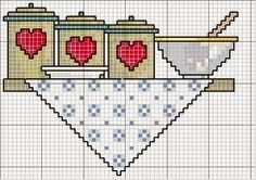 WhiteBegonvil I Do It I Shopping I Decoración I: Patrón de punto de cruz … – HairsTyles Cross Stitch Kitchen, Mini Cross Stitch, Cross Stitch Needles, Cross Stitch Charts, Cross Stitch Designs, Cross Stitch Patterns, Cross Stitching, Cross Stitch Embroidery, Embroidery Patterns