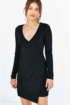 Silence + Noise Ponte Surplice Wrap-Front Mini Dress