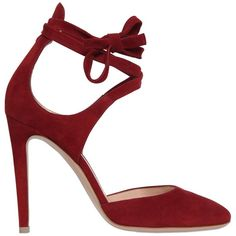 Gianvito Rossi Women 100mm Lace-up Suede Pumps ($732) ❤ liked on Polyvore featuring shoes, pumps, dark red, dark red shoes, gianvito rossi pumps, leather sole shoes, laced up shoes and suede pumps