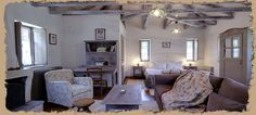 Relaxing moments in a spectacular place! Painted Beams, Gallery Wall, Dining Table, Cottage, House, Small Hotels, Furniture, Home Decor, Country