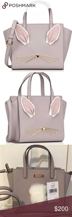 """KATE SPADE RABBIT HOP TO IT MINI HAYDEN CROSSBODY 100% Authentic & Brand New with Tags!   BRAND: Kate Spade MATERIAL: Crossgrain Leather, Faux Rabbit Fur Tail & Pink Suede Ears   COLOR:  Neutral CONDITION: New with Tags HEIGHT: 6"""" WIDTH: 10"""" DEPTH: 3"""" STRAP DROP: 3"""" Handles & 23"""" Adjustable & Removable Crossbody Strap  HARDWARE: 14k Gold Plated INSIDE: 1 Side Zipper Compartment CLOSURE: Zipper  ORIGINAL PRICE: $299.00 kate spade Bags Crossbody Bags"""
