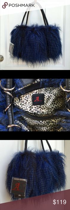 Adrienne Landau Faux Lamb Fur Handbag New gorgeous Adrienne Landau faux lamb fur handbag in Midnight Blue. This handbag has one center zipper pocket, one side zipped pocket and two side cell phone pockets. Silver colored hardware. Straps can be use double or single to make it longer. If you have any questions please do not hesitate to ask. Thank You!  Adrienne Landau Bags Hobos