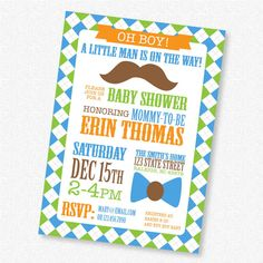 Mustache and Bow Tie  Boy Baby Shower  PRINTABLE by loveofdesignnc, $14.00
