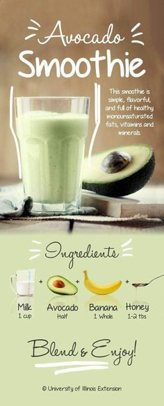 Avocado Smoothie Recipe - Simple, aromatic and full of healthy monounsaturated fats, vitamins and minerals! Avocado Smoothie Recipe - Simple, aromatic and full of healthy monounsaturated fats, vitamins and minerals! Smoothie Vert, Juice Smoothie, Smoothie Drinks, Vitamix Juice, Easy Smoothie Recipes, Easy Smoothies, Diet Recipes, Fruit Smoothies, Cleanse Recipes