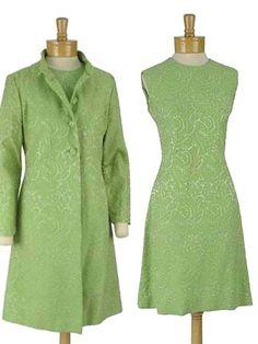 60s Mod Green Brocade Cocktail Dress Coat Set