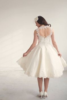 Betty by Timeless Couture | A stunning 1950's inspired short silk wedding dress with exquisite hand finished lace strap and border detailing. $2671