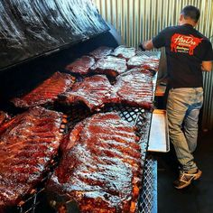 At one point this was my #1 pic. I love this shot. That's heaven right there. Pic courtesy of @hoodoobrownbbq -  Hoo's hungry for some ribs? Racks on racks on racks . . .  #HoodooBrown #ribs #racks #porkribs #Grill #Grilling #BBQ #Barbecue #FoodPorn #GrillPorn #Pork #PorkPorn #Food #FoodPhotography #foodgasm #foodography #instafood #foodiegram #foodie #foodstagram #foodpics #Meat #MeatPorn #meatlover #Paleo #GlutenFree #BrotherhoodofBBQ #EEEEEATS by grillinfools