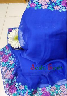 Boutique Designer Moslin Saree With Cut Work - Dress Neck Designs, Blouse Designs, Embroidery Suits Design, Hand Embroidery, Cut Work Blouse, Saree Blouse Patterns, Soft Silk Sarees, Saree Dress, Boutique Design