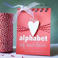 Alfabeto del nostro amore. Matrimonio fidanzamento matrimonio anniversario distribuzione carta regalo di compleanno / / Mini Album / / ABC abc lo suo on Etsy, $22.47