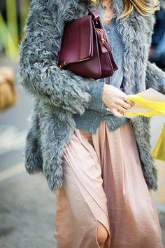 fall trend, burgundy bag: gray fur, blush skirt, Celine C-189 burgundy bag, via sobeaucoup tumblr