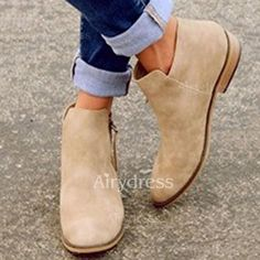 Product Name Plain Flat Velvet Round Toe Outdoor Ankle Boots Brand Name Gracymeofficial SKU 4758 Flat Heel Ankle Boots, Mid Calf Boots, Heeled Boots, Shoe Boots, Women's Shoes, Flat Booties, Shoes Style, Ankle Booties, Flat Boots Outfit