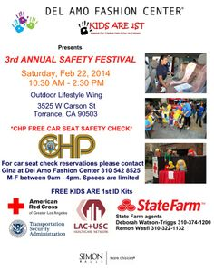 Free CHP car seat inspection at Del Amo Fashion Center on Feb. 22. Sponsored by State Farm. Reservations highly recommended.