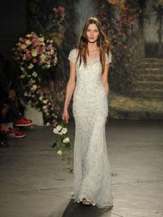 Jenny Packham sequined rosette illusion neckline wedding dress from Spring 2016