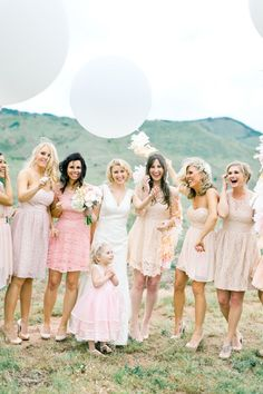 blush bridesmaids | mix and match bridesmaids dresses| brumley and wells photography | best bridesmaid dress | fabmood.com