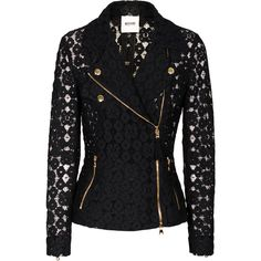 MOSCHINO Cheap and Chic Biker Lace Black Lace blazer in biker look ($950) ❤ liked on Polyvore featuring outerwear, jackets, blazers, coats, tops, zipper jacket, biker style jacket, slim blazer jacket, slim biker jacket and slim fit jacket