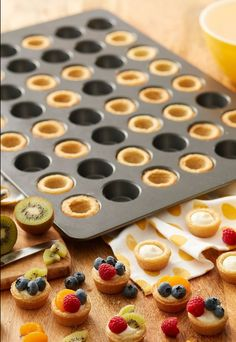 how to make two delicious celebratory brunch recipes! These desserts are made using our Mega Mini Muffin pan which allows you to make 48 cups! If you're looking for great bulk recipes to serve a large crowd, choose one of these sweet or savory rec. Tart Recipes, Brunch Recipes, Breakfast Recipes, Dessert Recipes, Cooking Recipes, Breakfast Casserole, Cheesecake Recipes, Kreative Desserts, Mini Muffin Pan