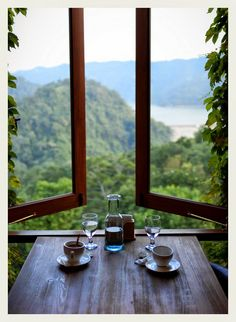 I want this view and windows that open right up to it like this someday.I want this view and windows that open right up to it like this someday. Boho Home, Window View, Open Window, Through The Window, Architecture, Belle Photo, Windows And Doors, Large Windows, Interior And Exterior