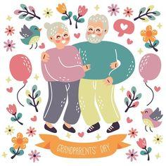 Elderly Couples, Grandparents Day, Vector Free, Journal, Happy, Ser Feliz, Being Happy