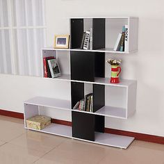 Storage Bookcase 4 Shelves Wooden Bookshelf S Shape Display Unit Home Furniture | Bookcases, Shelving & Storage | Furniture - Zeppy.io