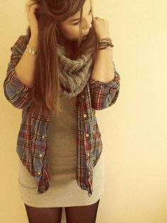 leggings, fitted dress, open flannel, and scarf, long hairstyle