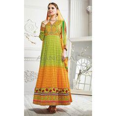 Green and Orange Georgette Churidar #SalwarKameez #AnarkaliSuits #SalwarSuits