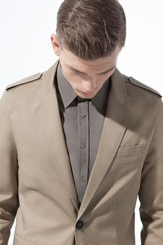 Blazer with Top Stitching on Epaulettes; Shirt with Double Concealed Button Closure