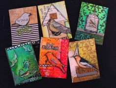 Bird theme ATC cards I made for REDlead as their guest artist.
