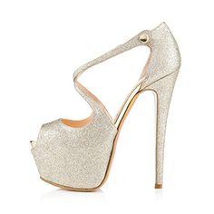 Onlymaker Damenschuhe High Heels Open Freie Toe Elegante Glitzer Buckle Schnalle Sandale Satin Silber EU42 - http://on-line-kaufen.de/onlymaker/42-eu-onlymaker-damenschuhe-high-heels-peep-toe-13