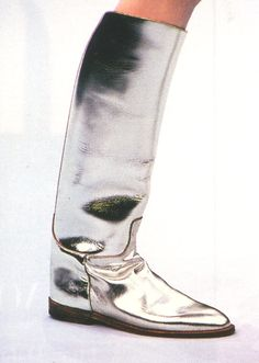 "schu-schu: ""  vogue 1998 i want these boots "" / silver leather / metallic leather"