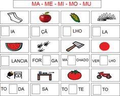 Escrevendo a silaba faltosa: Atividades com Sílabas Simples.