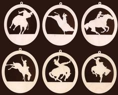6 Piece Rodeo Cowboy Horse Bull Rider Western Christmas Ornament Natural Craft Wood 933-4ND via Etsy