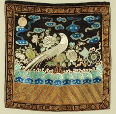 Chinese embroidery, 1890.  Silk and metal threads.