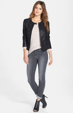 Todays Coveted Working Look: Halogen Zip Front Leather Jacket