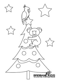 koala colouring in Christmas themed