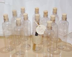 CORK BOTTLES - CLEAR PlaStiC FaVor BoTTleS (set of 30) -Ready To Fill with -LoVe Notes -PaRty InViTes-PiRaTe PartY-WeddIng-SoroiTY SeCretS by LolaLovesAparty on Etsy https://www.etsy.com/listing/123258371/cork-bottles-clear-plastic-favor-bottles