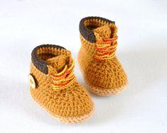 New CROCHET PATTERN Baby Booties Timberlander by matildasmeadow