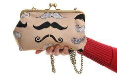 Beige Moustache Day Handbag