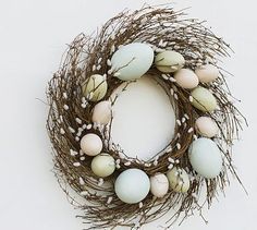 Faux Pussy Willow Easter Egg Wreath #potterybarn