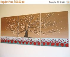LARGE wall art hanging triptych cherry blossom by wrightsonarts