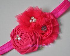 Hot Pink headband,Pink and Gray headband,baby girl headband,gray headband,Newborn head band, Grey hairband,Pink bows, Toddler girl headbands